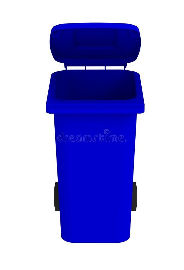 Vooraanzicht van blauwe huisvuil wheelie bak met een open deksel op een witte achtergrond vector illustratie