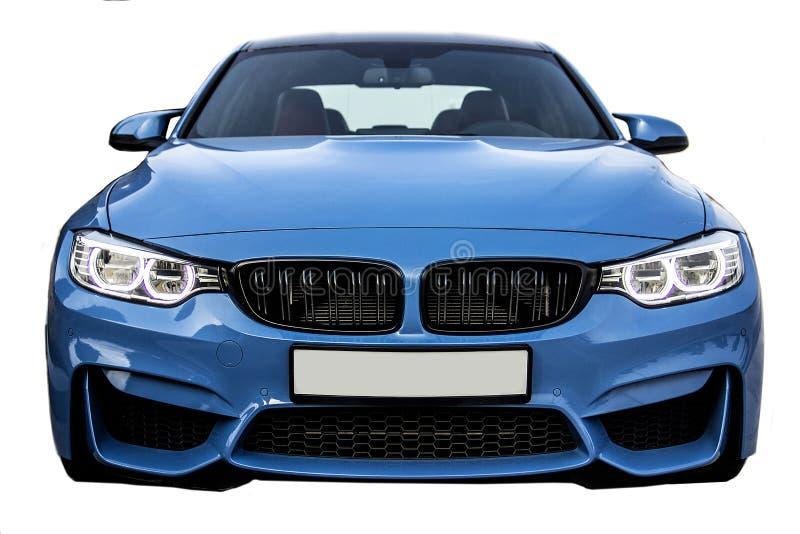 Vooraanzicht van BMW M3, de auto van de bedrijfssportsedan stock fotografie