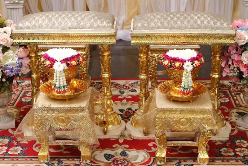 Vooraanzicht van boeketdecoratie voor Thaise huwelijksceremonie royalty-vrije stock fotografie