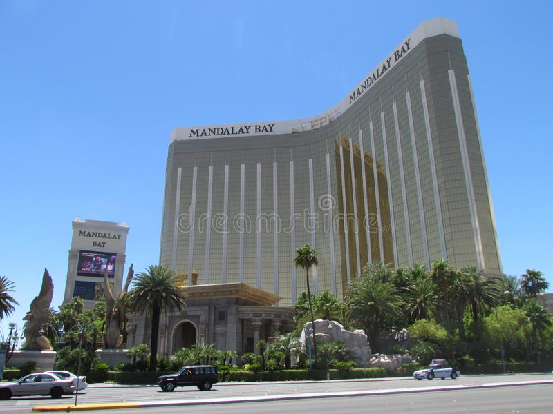 Vooraanzicht van de Baaihotel van Mandalay in Las Vegas stock foto