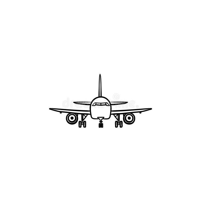 Vooraanzicht van de krabbelpictogram van het vliegtuighand getrokken overzicht vector illustratie