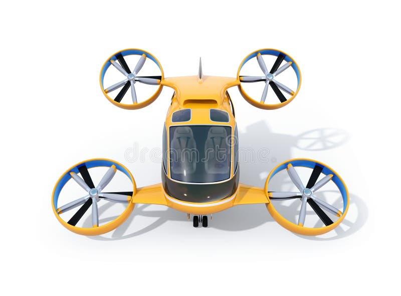 Vooraanzicht van de oranje die Taxi van de Passagiershommel op witte achtergrond wordt geïsoleerd vector illustratie