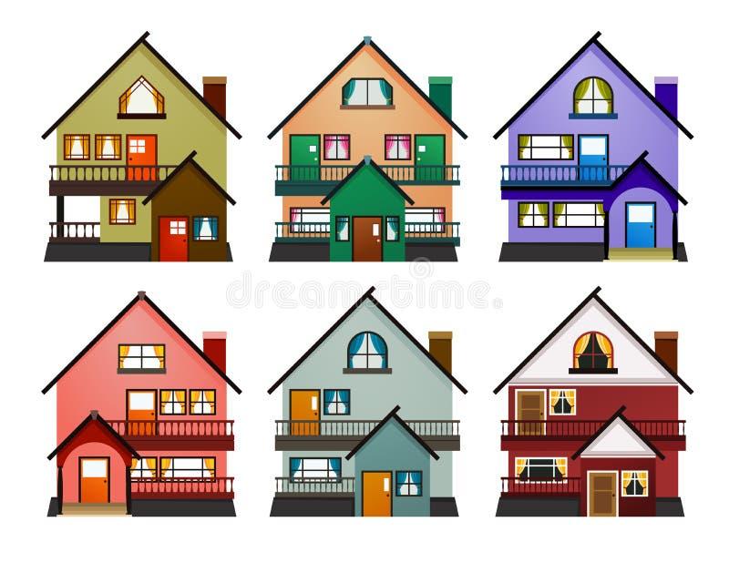 Vooraanzicht van diverse moderne huizen stock illustratie