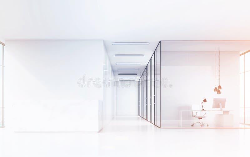 Vooraanzicht van een bureauzaal met een marmeren ontvangstteller en een bureau met witte meubilair en glasmuren stock illustratie