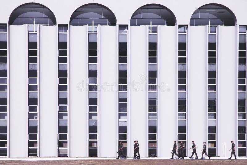 Vooraanzicht van een hoofdkwartbureau in brasÃlia/df/Brazil stock afbeeldingen