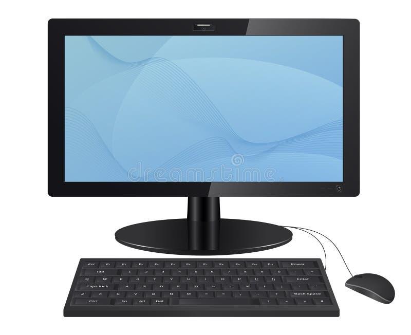 De monitor van de computer met toetsenbord en muis. vector illustratie