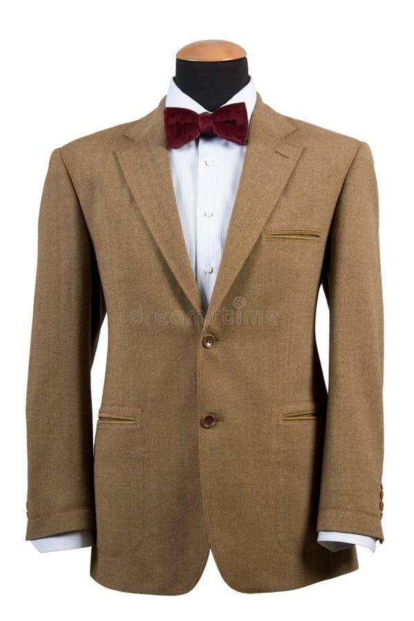 Vooraanzicht van elegant bruin kostuum royalty-vrije stock fotografie