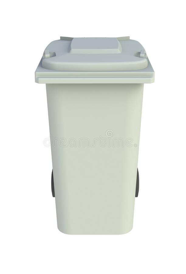 Vooraanzicht van grijze huisvuil wheelie bak met een gesloten deksel op een witte achtergrond vector illustratie