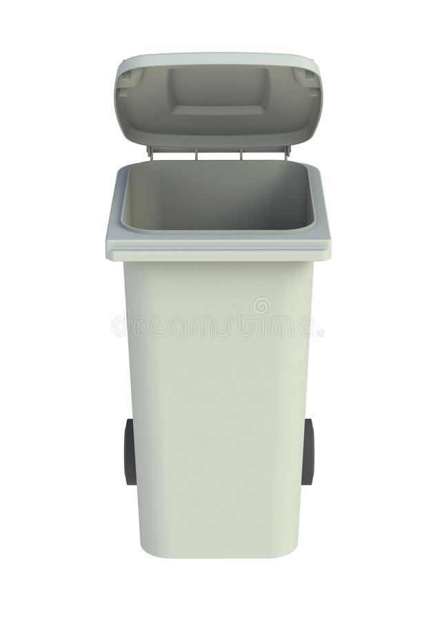 Vooraanzicht van grijze huisvuil wheelie bak met een open deksel stock illustratie