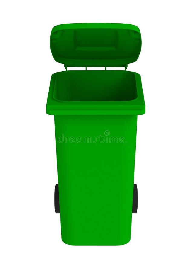 Vooraanzicht van groene huisvuil wheelie bak met een open deksel op een witte achtergrond stock illustratie