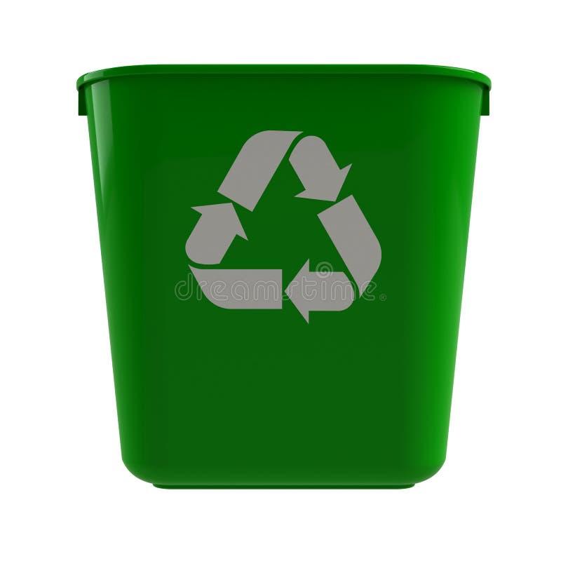 Vooraanzicht van groene recyclingbak op een witte achtergrond stock illustratie