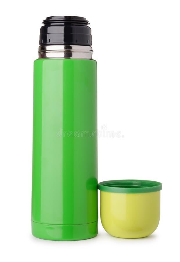 Vooraanzicht van groene thermofles stock afbeeldingen