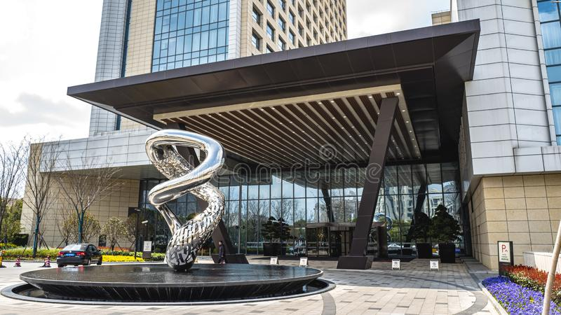 Vooraanzicht van het Hotel Kangqiao van Shanghai Marriott royalty-vrije stock afbeeldingen