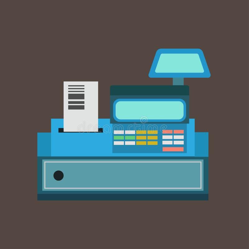 Vooraanzicht van het kassa het vectorpictogram De illustratie die van het muntontwerp handelsmateriaal betalen Pos eindmachinesup stock illustratie