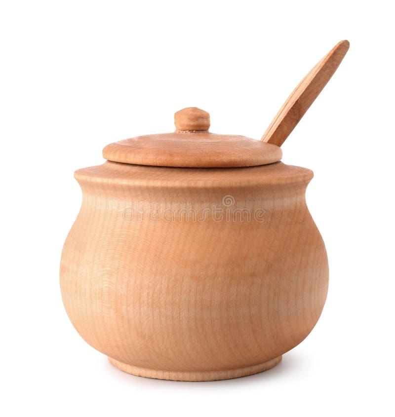 Vooraanzicht van houten pot stock foto