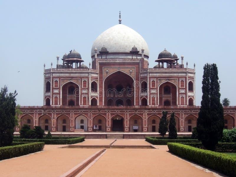 Vooraanzicht van Humayun Tomb, New Delhi, India stock foto's