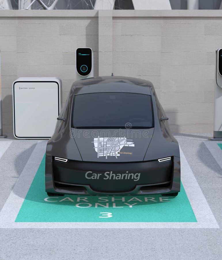 Vooraanzicht van metaal grijze elektrische auto in auto die slechts parkeerterrein delen stock illustratie