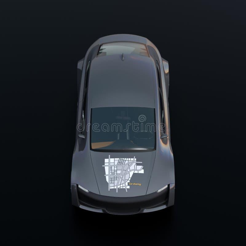 Vooraanzicht van metaal grijze elektrische auto met auto die grafisch patroon op kap delen vector illustratie