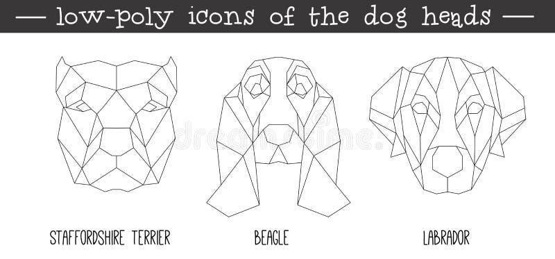 Vooraanzicht van reeks van het hond de hoofd driehoekige pictogram royalty-vrije illustratie