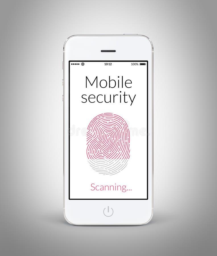 Vooraanzicht van witte slimme telefoon met mobiele veiligheidsvingerafdruk stock foto's