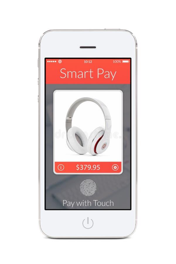 Vooraanzicht van witte slimme telefoon met slimme loonstoepassing op Th royalty-vrije stock afbeelding