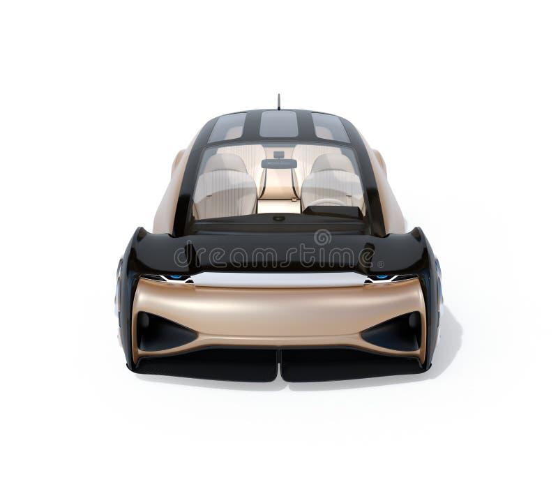 Vooraanzicht van zelf drijf elektrische auto dat op witte achtergrond wordt geïsoleerd vector illustratie