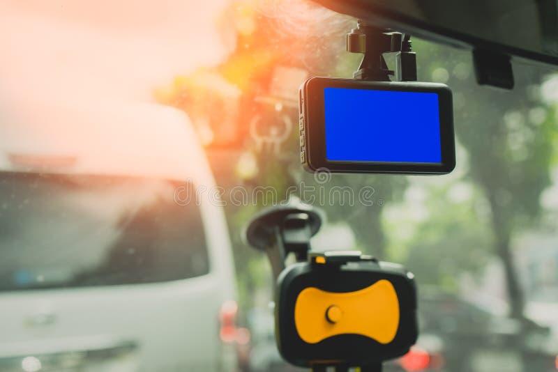 Vooraanzichtcamera voor auto camcorder op straat royalty-vrije stock afbeelding