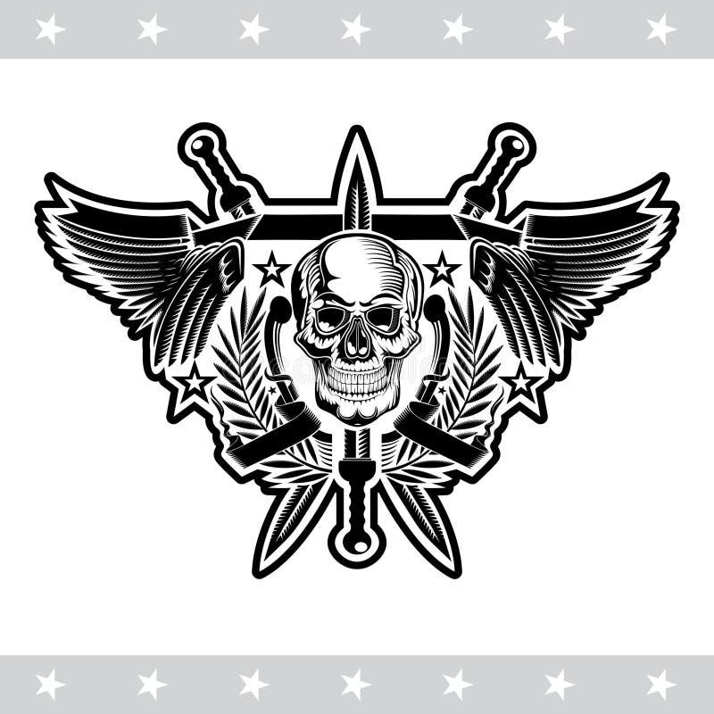 Vooraanzichtschedel in centrum van kroon tussen met vleugels en gekruiste zwaarden Vector heraldisch ontwerpelement royalty-vrije illustratie