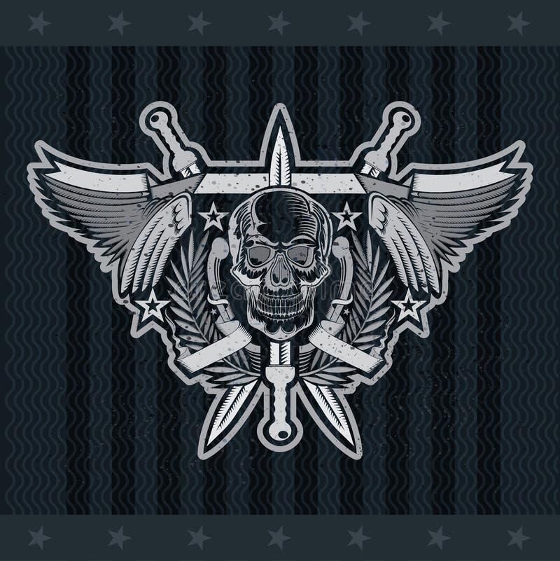Vooraanzichtschedel in centrum van kroon tussen met vleugels en gekruiste zwaarden Vector heraldische ontwerpelementen op zwarte stock illustratie