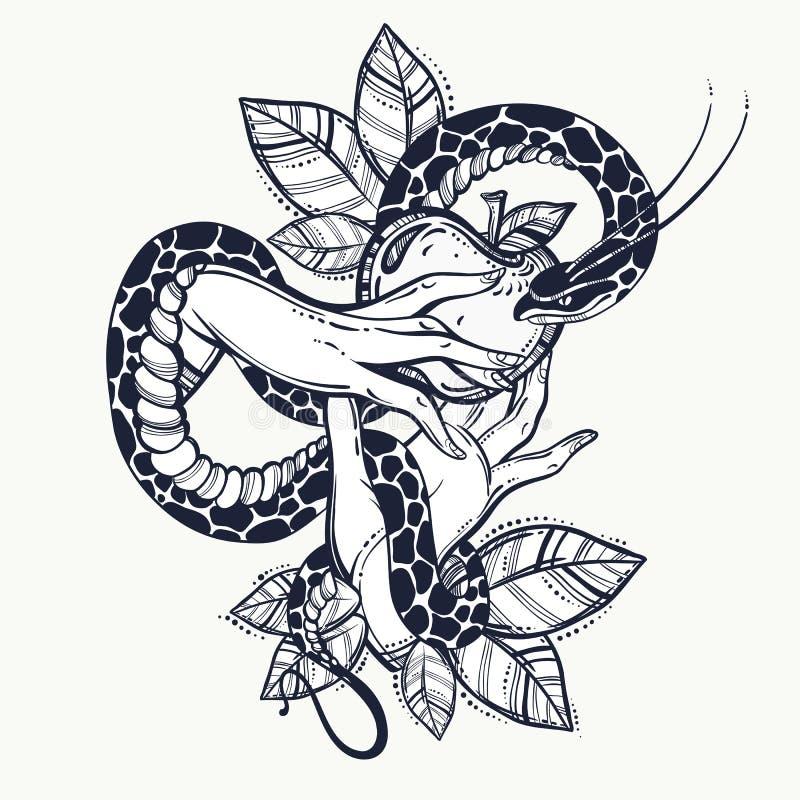 Vooravond` s handen met verboden fruit en slang Hand-drawn tatoegeringsart. Element van een Bijbels verhaal van Vooravond Uitstek vector illustratie