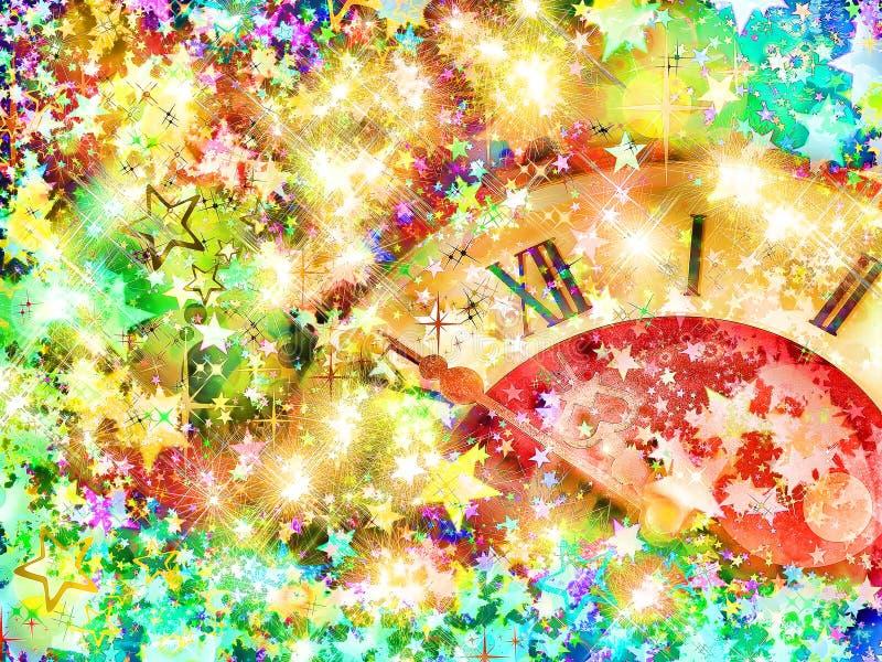 Vooravond van nieuw jaar Wijzerplaat en multicolored glanzende sterren royalty-vrije illustratie