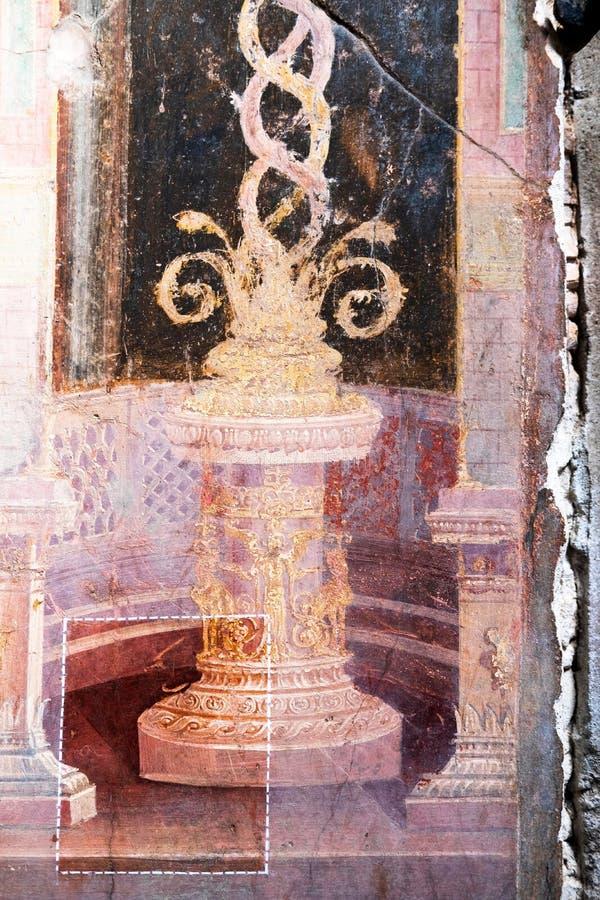 Voorbeeld van restauratie van een oude Roman fresko in een huis in Pompei royalty-vrije stock afbeeldingen
