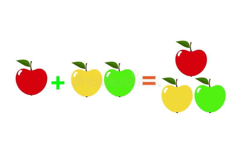 Voorbeelden met appelen Beeldverhaal van wiskundige die toevoeging, op een witte achtergrond wordt geïsoleerd Vector royalty-vrije illustratie