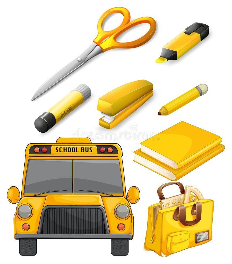 Voorbeeldenboek, pen, potlood en andere apparatuur vector illustratie