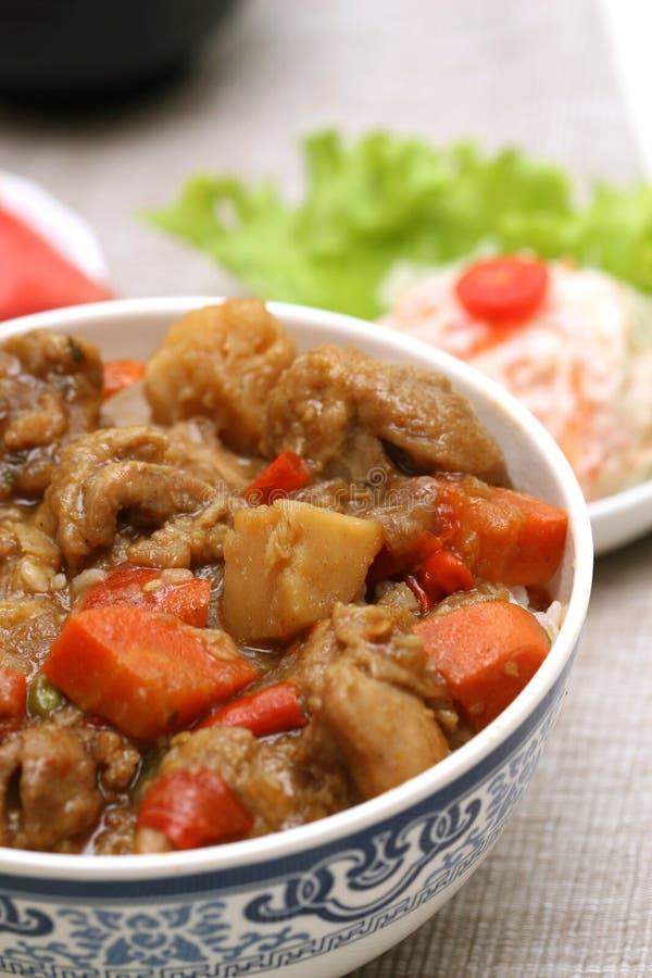 Voorbereide en heerlijke Japanse voedsel-rundvlees rijst stock afbeeldingen