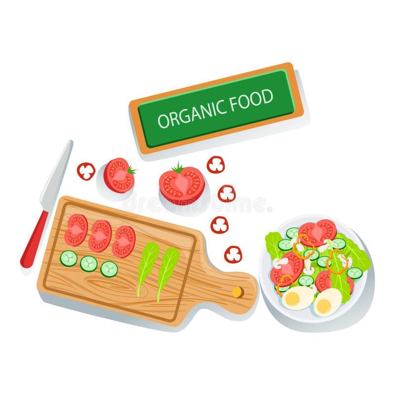 Voorbereide Ingrediënten en Kom met Klaar Salade van de Verse Organische Producten van Eco van de Groentenillustratie Landbouwbed vector illustratie