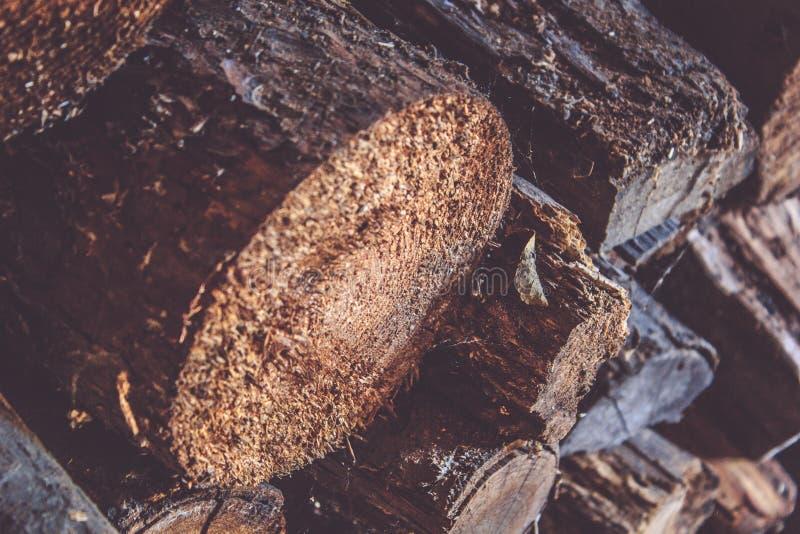 Voorbereiding van brandhout voor de winter Sluit omhoog brandhoutachtergrond, Stapels van brandhout in het bos royalty-vrije stock foto's