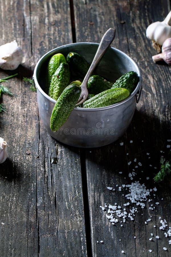 Voorbereiding van low-salt ingelegde komkommers royalty-vrije stock foto's