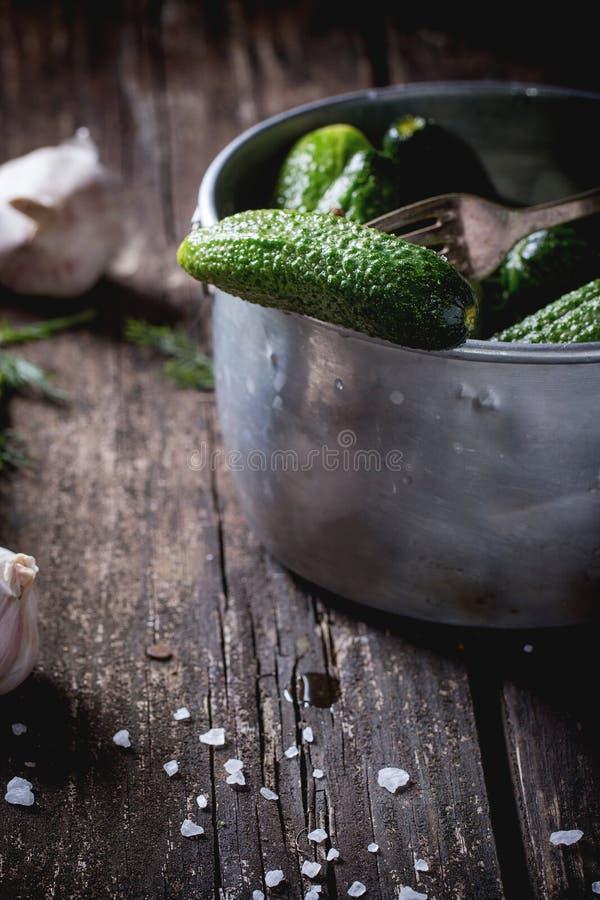 Voorbereiding van low-salt ingelegde komkommers royalty-vrije stock foto