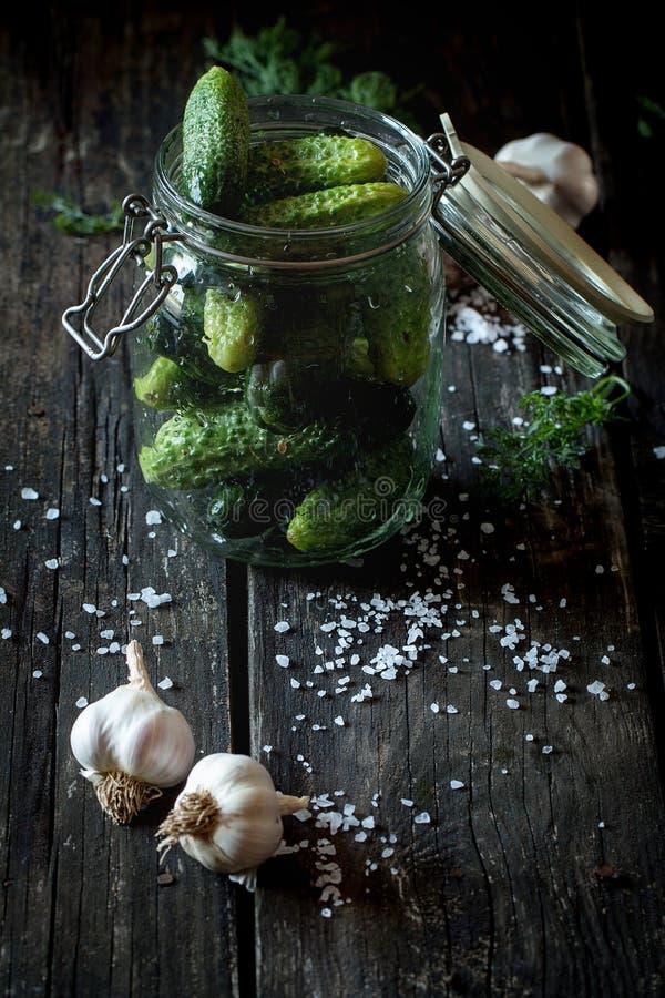 Voorbereiding van low-salt ingelegde komkommers royalty-vrije stock afbeeldingen