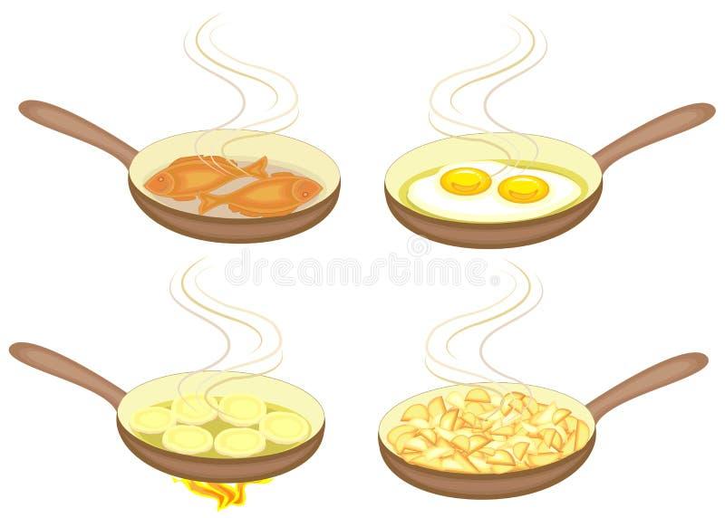 Voorbereiding van schotels in een pan De eieren, aardappels, pannekoeken, vissen zijn gebraden Smakelijk en voedzaam voedsel Een  royalty-vrije illustratie