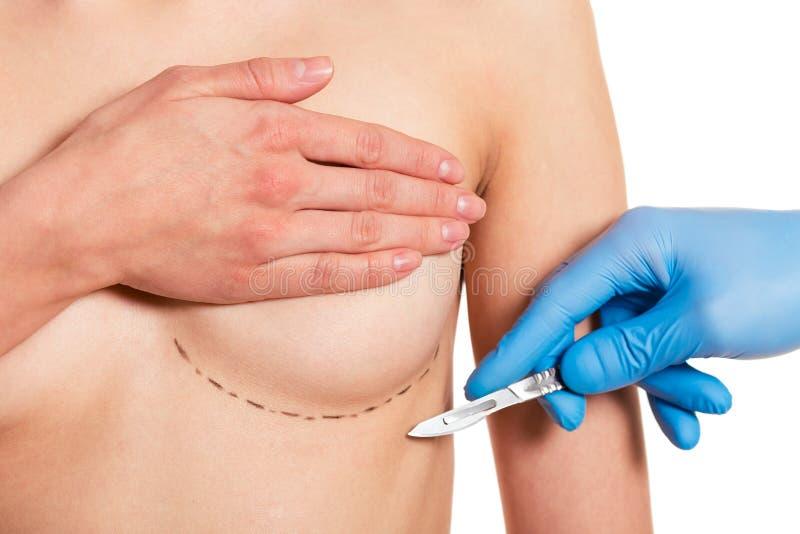 Voorbereiding voor borstchirurgie royalty-vrije stock afbeeldingen