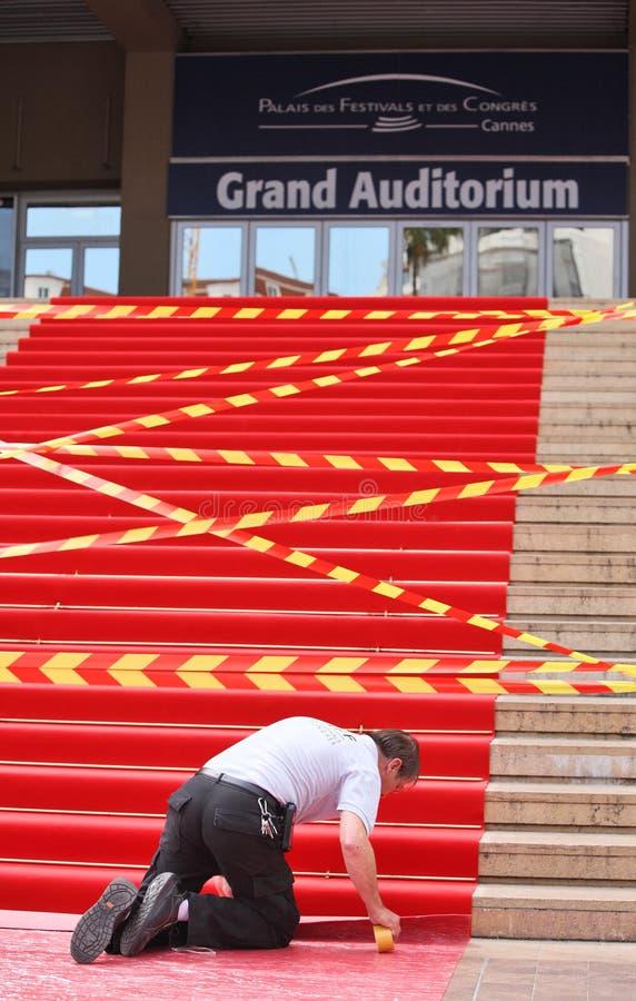Voorbereiding voor het Festival van de Film in Cannes royalty-vrije stock fotografie