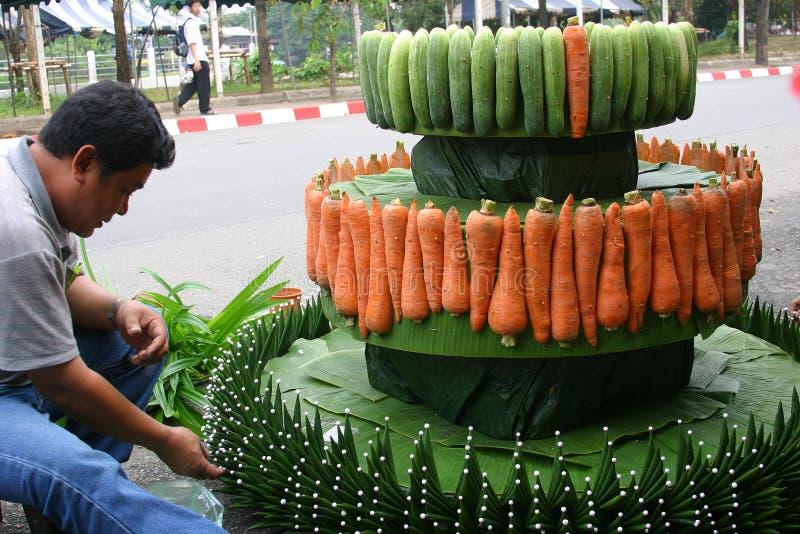 Voorbereidingen voor Loy Krathong stock afbeeldingen