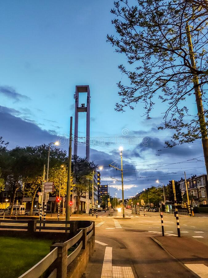 Voorburg district of The Hague Den Haag, The Netherlands. An intersection at dusk in the Voorburg district of The Hague Den Haag, The Netherlands. A colorful sky royalty free stock photography
