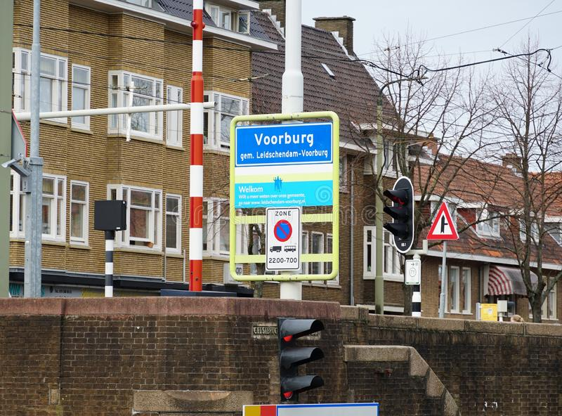 Voorburg, the Netherlands. March 2019. Street Sign with the name of Voorburg, a city in South Holland province, the Netherlands royalty free stock photos