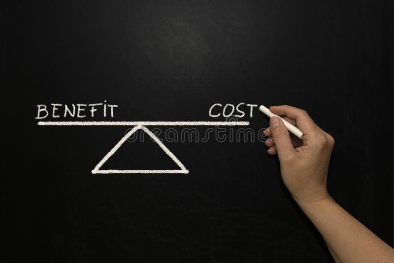 Voordeel en kosten stock afbeelding