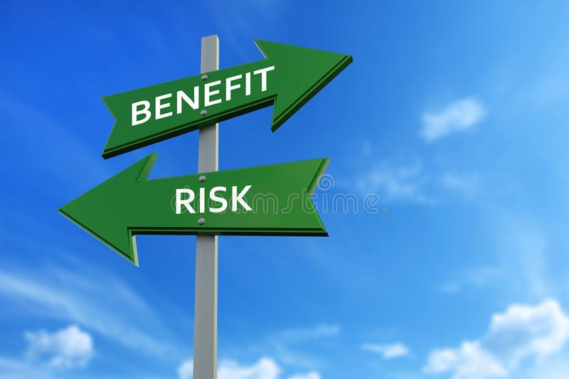 Voordeel en risicopijlen tegenover richtingen royalty-vrije illustratie