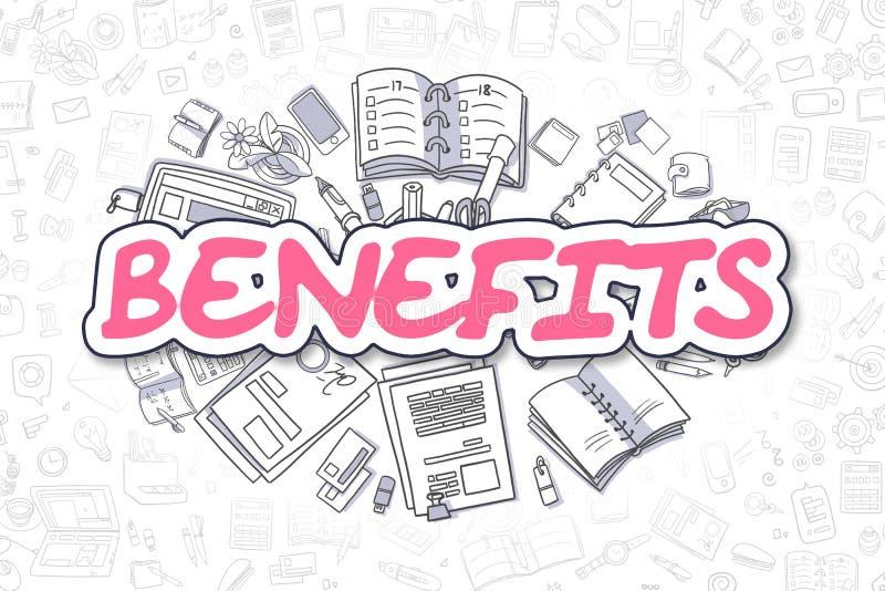 Voordelen - Krabbel Magenta Tekst Bedrijfs concept vector illustratie