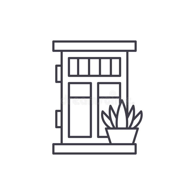 Voordeur met het pictogramconcept van de installatielijn Voordeur met installatie vector lineaire illustratie, symbool, teken stock illustratie